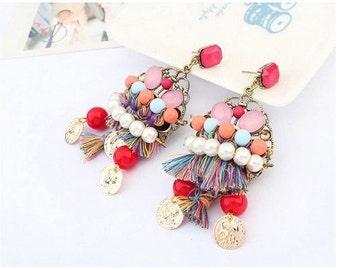 Lushousloulou Bohemian Earrings Red Tassel