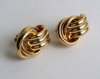 Clearance Amazing Vintage Gold Tone Door Knocker Knot Clip On Earrings
