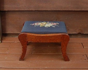 Needlepoint Foot Rest, Vintage Needlepoint and Wooden Foot Stool, Oak Stool