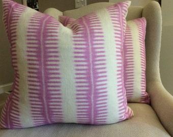 C and C Milano Pillow Cover in Hot Pink Zip Zip Design, Linen Backing