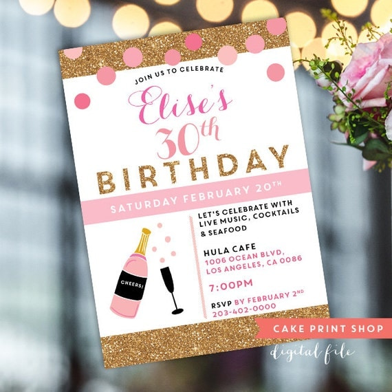 Womens 30th Birthday Invite Printable 30th Birthday 40th