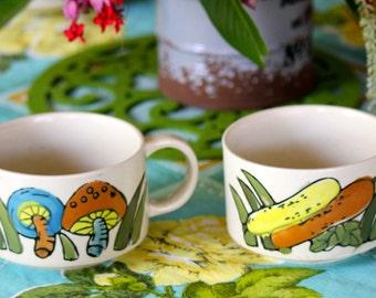 Vintage Retro 1970s  Ceramic Soup Cups (2)