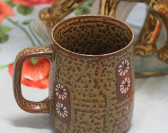 Ceramic Coffee Mug , Vintage, 1970s Retro