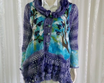 Jacket felting, crochet, boho chic - Lilac flowers