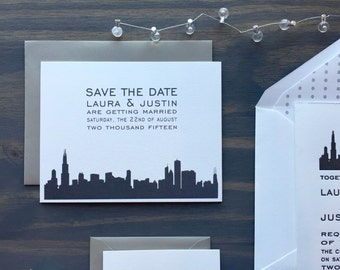 Chicago Save the Date, Letterpress Skyline, Wedding Invites, Grey Black White, Modern Architectural, City Invites, Illinois, Simple