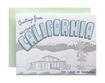 Letterpress Southern California Card, Socal Postcard Style, vintage retro mid century, greetings from, los angeles, san diego, hollywood