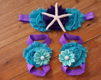 Mermaid Baby Barefoot Sandals Headband Set - Under the Sea Photo Props