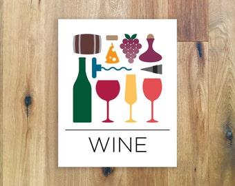 Wine Poster - Wine Wall Art - Bar Decor - Kitchen Decor - Wine Sign - Wine Illustration