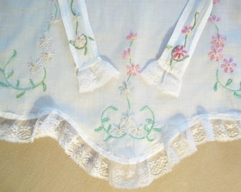 Hand Embroidered Hand Sewn Cotton Half Apron