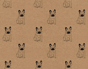 French Bulldog Wrapping Paper: Frenchie Print Kraft Gift Wrap Sheet (70 cm x 50 cm / 27.5 inches x 19.5 inches)
