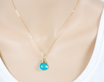 Blue Chalcedony Necklace, Natural Gemstone with Gold Filled Necklace