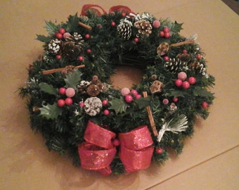 Christmas Candle Wreath, SHIPPING INCLUDED,  Rustic  Snowy Garland Wreath Ring, Table Wreath, Dining Room Table Arrangement,