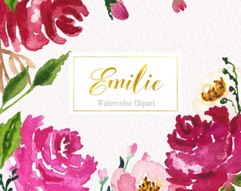 """Watercolor Clipart digital Hand Drawn. Collection """"Emilie"""". Romantic wedding clipart, red and bright pink floral  watercolour clip art."""