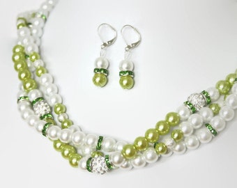 Pearl Bridal Jewelry - White Pearl Bridal Set - Bridal Necklace - Bridesmaid Gift - Bridesmaid Jewelry - Wedding Jewelry - Bridesmaid Pearl