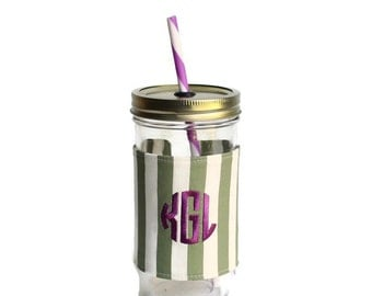 Green Stripe Mason Jar Tumbler, Monogram Mason Jar Cup, Gifts for Her, Unique Gifts, Gifts Under 25, Monogram Gifts, Personalized Gifts