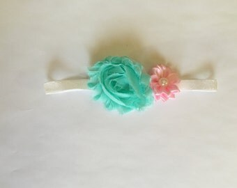 Aqua sparkle headband-Newborn