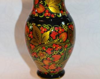 New, Original, Russian, Authentic Flower vase Khokhloma