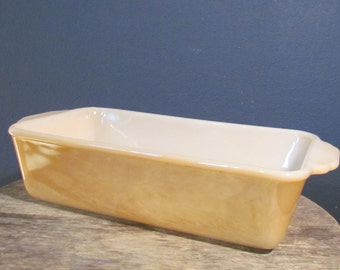 Vintage 1950's Fire King Peach Lustre Bread Pan, Anchor Hocking Glass Loaf Pan
