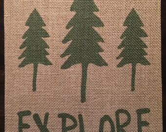 Explore | Woodland | Burlap Fabric Print | Rustic Decor | Nursery Decor | Home Decor | Camping | Tree