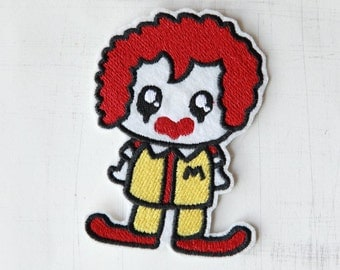 6 x 8cm, Clown with Red Hair Iron On Patch (P-416)
