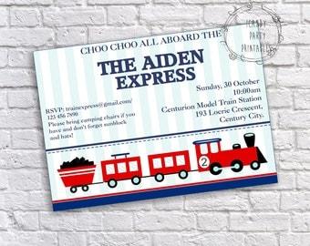 Train Invitation, Train Birthday Invitation, Train Party, Printable, Editable