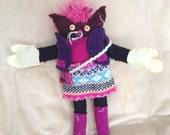 Medium Kitten with FREE Mittens Recycled Stuffed Animal Cat Toy Soft Art Creature Nursery