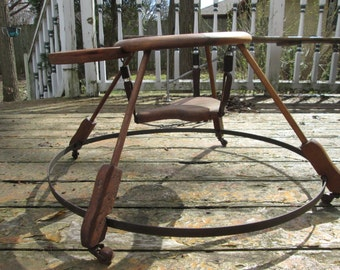 Antique Victorian Wooden Baby Walker Jumper With Leather Straps And Tray