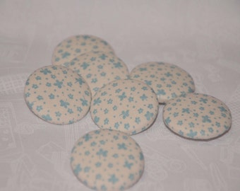 "Fabric Buttons, Vintage Retro Style Fabric Covered Buttons - 1.25"" 6's"