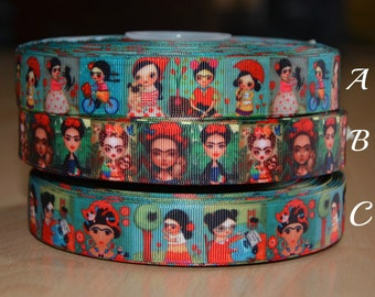 Kawaii Inspired Frida Kahlo Character Grosgrain Printed Ribbon