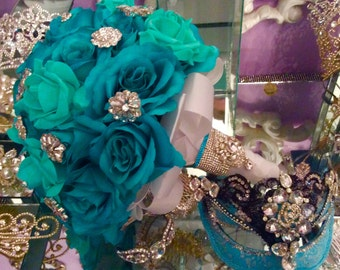 Quinceanera Bouquet - Custom Made - Turquoise at HHLatina