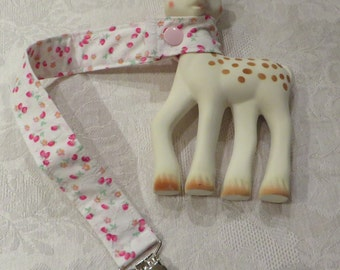 BatesCreates Sophie the Giraffe leash, tether, toy - 100% cotton fabric - topstitched (PINK BERRIES)