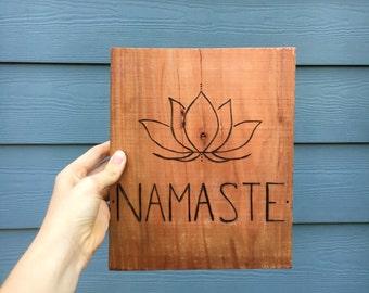 Namaste Lotus Wood Sign
