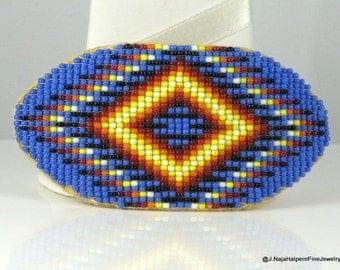 Beaded Barrette, Large Blue Oval Clip, Native American, Vintage Beadwork, Indian Handmade, Large Blue Barrette. Like NEW Never Worn