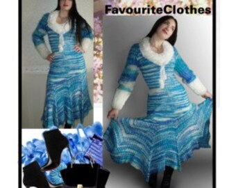 The Snow Queen. Handmade knitted dress.