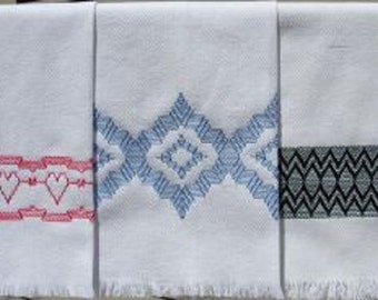 """KIT Huck Embroidery """"Inspiration 3""""  Katherine Kennedy Swedish Weave Designs KIT includes 3 Patterns, Huck Towel Fabric, Thread, & Needle"""