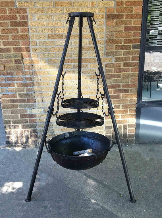 Large Rugged Tri Pod Firebowl Grilling Set Includes Two Grill