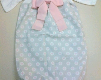 Baby Girl Newborn Sleeper / Coming Home Gown Gray and Pink
