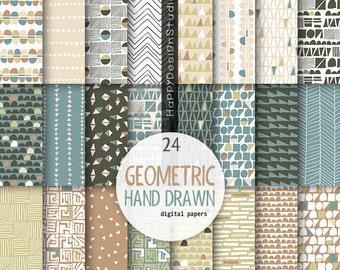 Geometric scrapbook papers khaki beige tan blue mustrad earth tones natural colors neutral palette hand drawn geometry digital paper