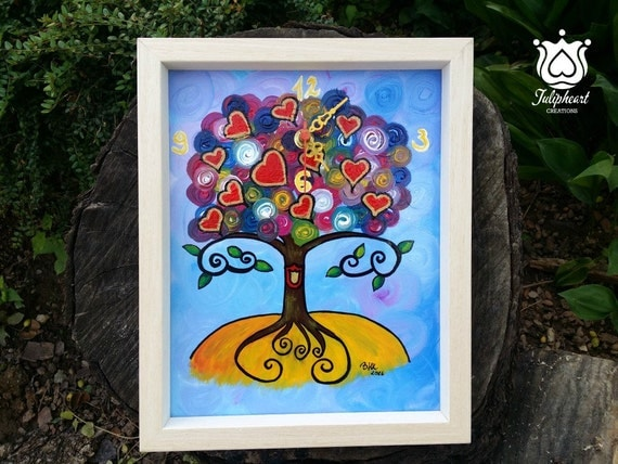 Whimsical Tree of life, picture frame clock, 11 hearts, Home decor, kids, children, loved one, hand painted, handmade wall clock,unique gift