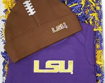 LSU Tigers Baby Bodysuit & Football Cap Gift Set