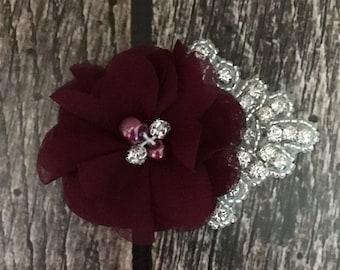 Wine hair clip, flower girl hair clip, rhinestone hair clip, flower hair clip, alligator clip, wedding clip