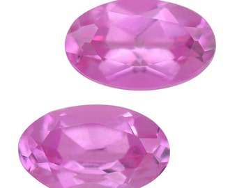 Pink Sapphire Synthetic Lab Created Loose Gemstone Oval Cut Set of 2 1A Quality 5x3mm TGW 0.50 cts.