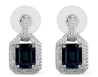 Blue Crystal Made With SWAROVSKI Octagon Cut Stud Drop Earrings in Platinum Bonded Brass 5.90 cts.