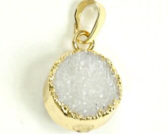 White Round Druzy Pendant, White Druzy Disc Pendant, Gold Electroplated Edged, Gold Druzy Necklace, Disc Pendant, White Druzy Pendant