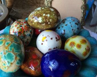 Vintage handmade colorful dinosaur eggs