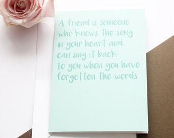 Friendship Gift for Her 'Song in Your Heart' Greeting Card