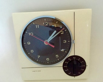 Vintage Hettich clock with kitchen timer - perfect condition - Space Age Mid Century Modern