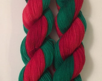 Hand Dyed Yarn Worsted weight | self striping yarn |100% SuperWash merino wool | 100 grams | Christmas Elves | Red and Green / super soft