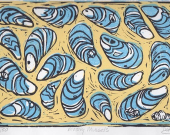 Mostly Mussels (Blue and Yellow): Hand Pulled Linoleum Block Print