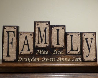 Home Decor Family Name Blocks Living Room
